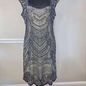 Adrianna Papell Beaded Dress, Sheer Back, Size 14